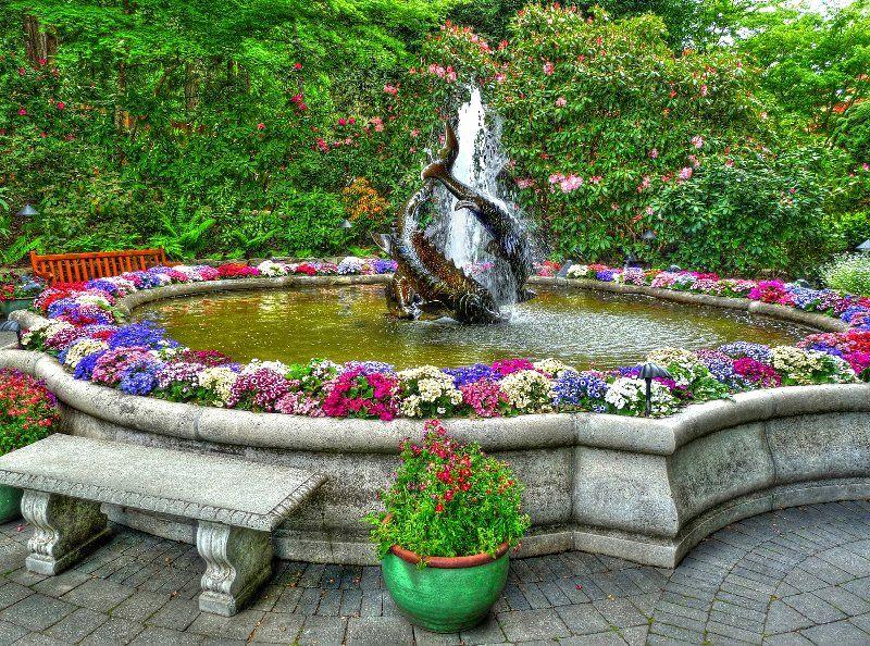 Fountain Butchart Gardens Near Victoria Bc Mit Bildern Wasserlauf