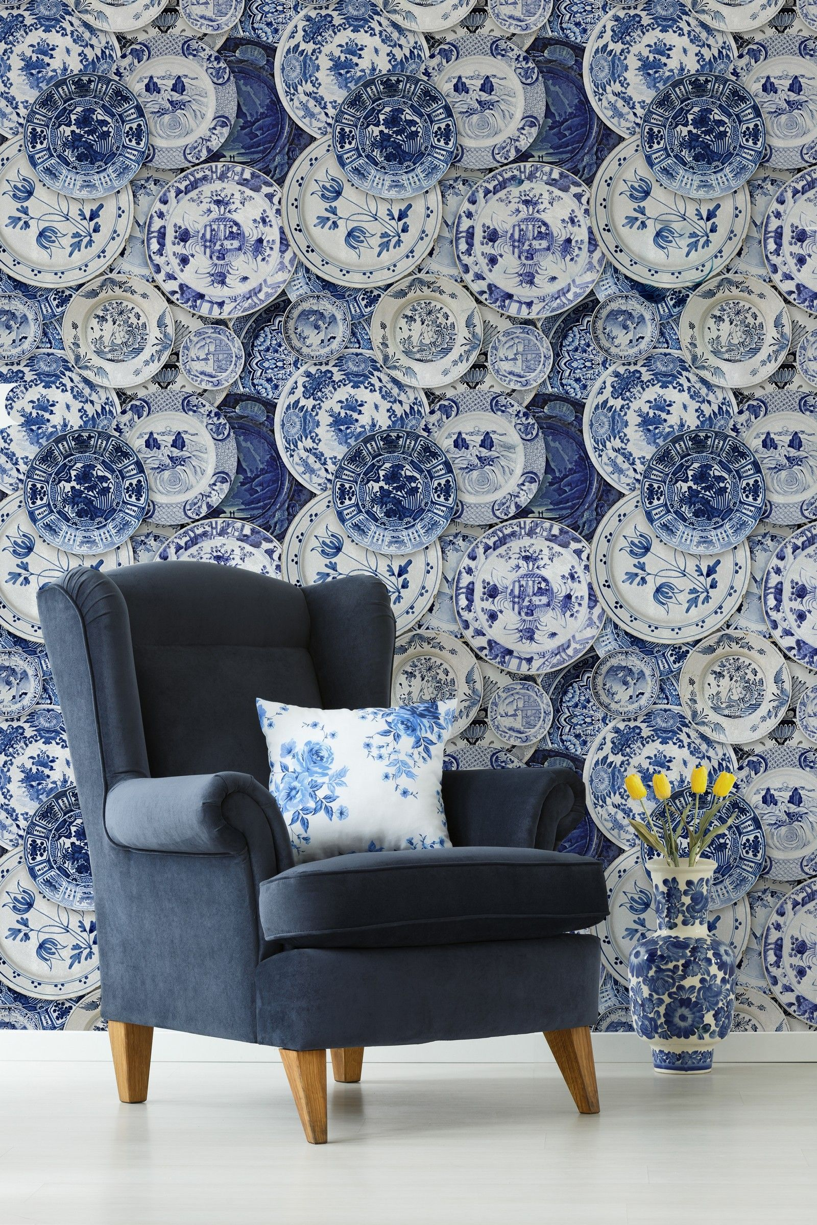 Delft Blue Wallpaper (With images) Blue wallpapers, Blue