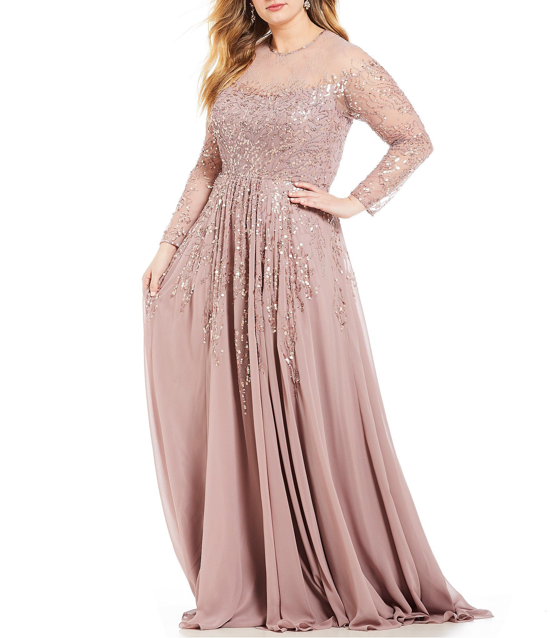 3d5dcdb45e Shop for Terani Couture Plus Size Sheer Sleeve Chiffon Gown at Dillards.com.  Visit Dillards.com to find clothing
