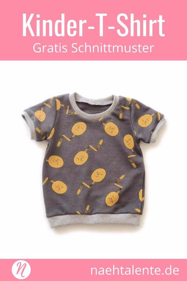 T-Shirt für Kinder - Freebook für Kurz- und Langarmshirts #shirtschnittmuster