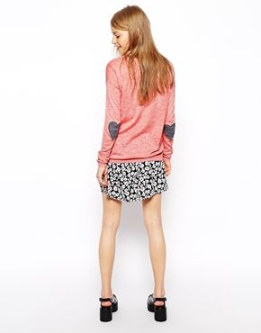 Image 2 of ASOS TALL Sweater With Heart Elbow Patch