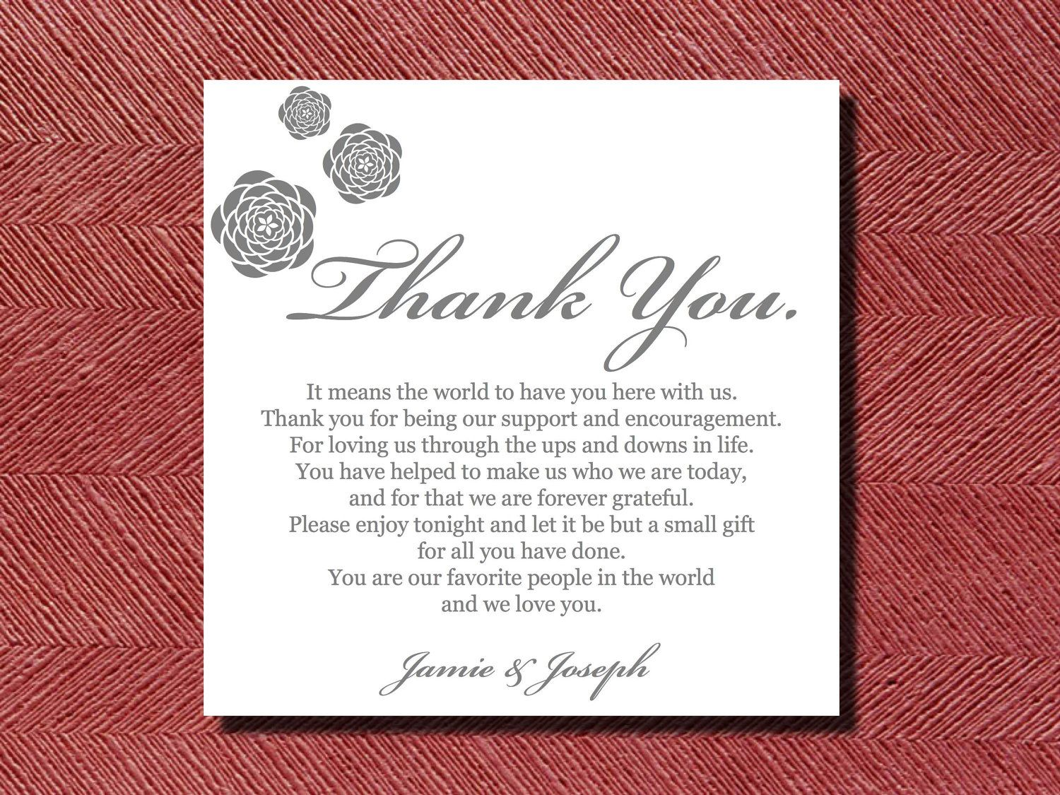 Wedding Reception Thank You Place Setting Card | Wedding Ideas ...