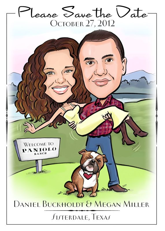 Ilrate The Date Save Wedding Invitations Caricature Cartoon