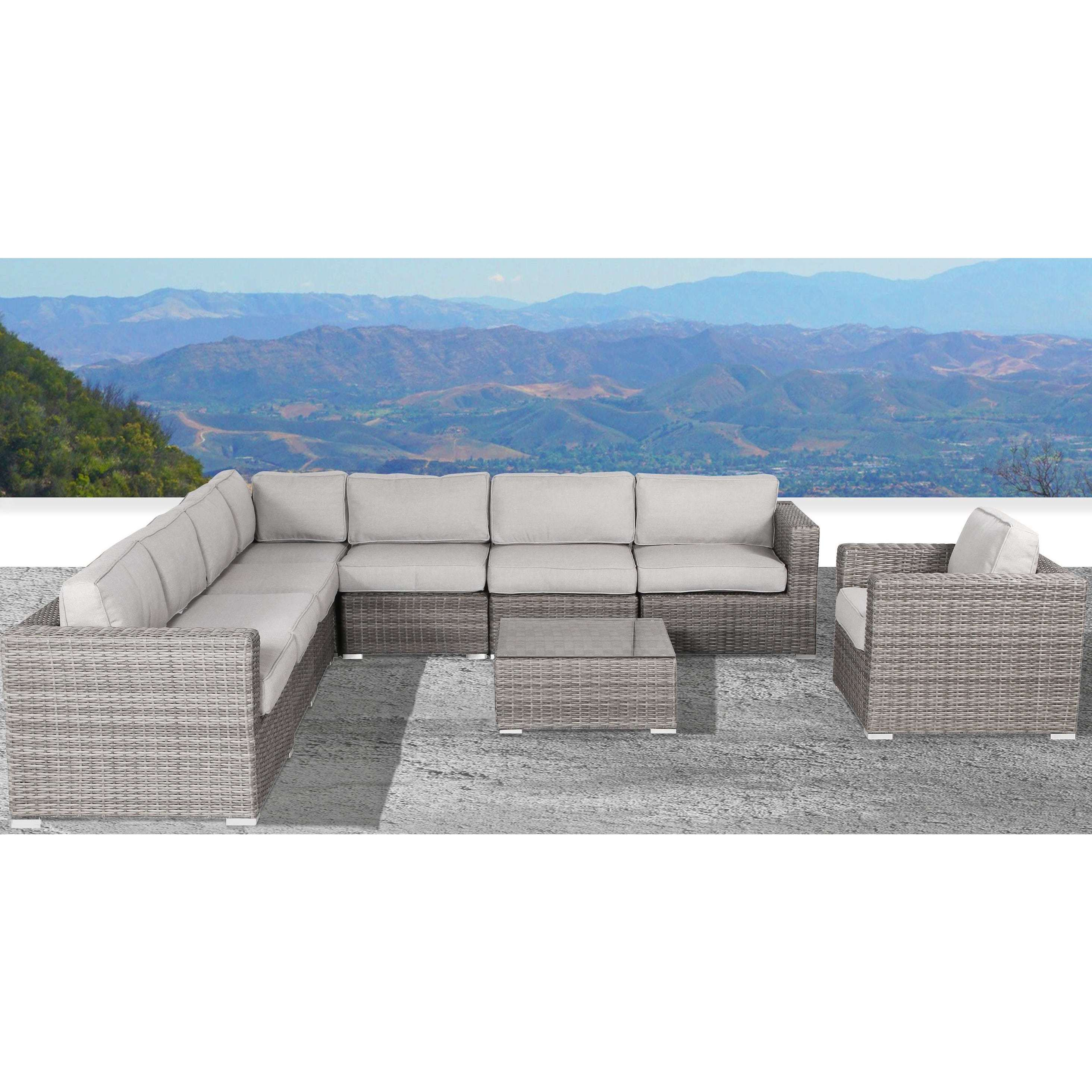 Elegant Living Source International Verona Wicker 8 Piece Deep Seating Group With  Cushion (Grey Strands