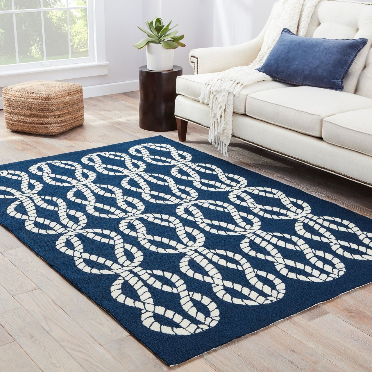 Large Scale White Knotted Rope Designs Adorn This Fun Nautical Inspired Maritime Knots Navy Blue Indoor Outdoor Area Rug Giving It A Pop Of Bright Color To