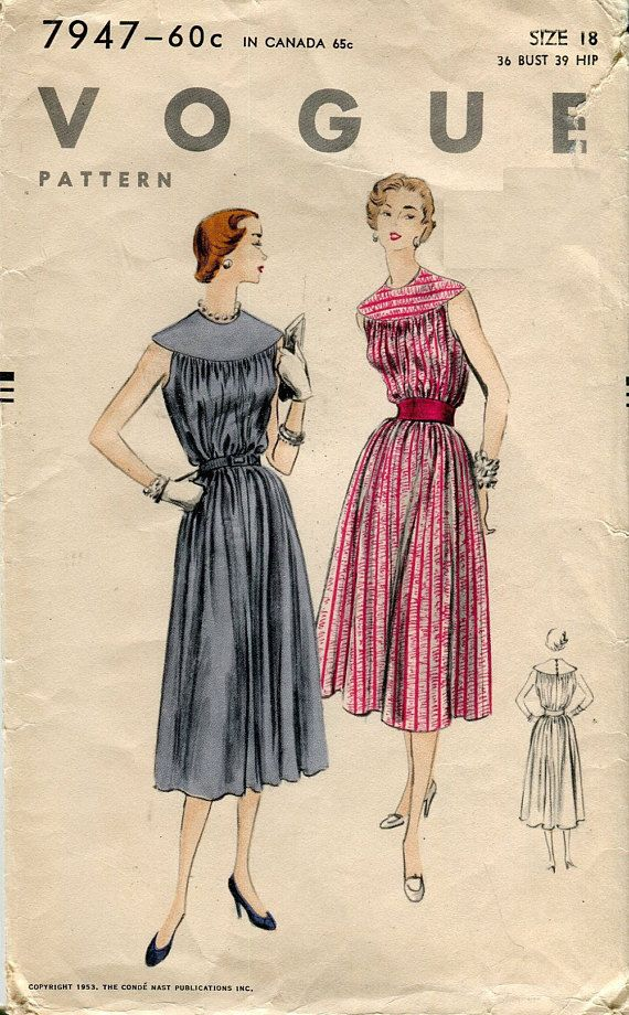 1950s Vogue 7947 Chemise Dress Vintage Sewing Pattern Trapeze Tent ...
