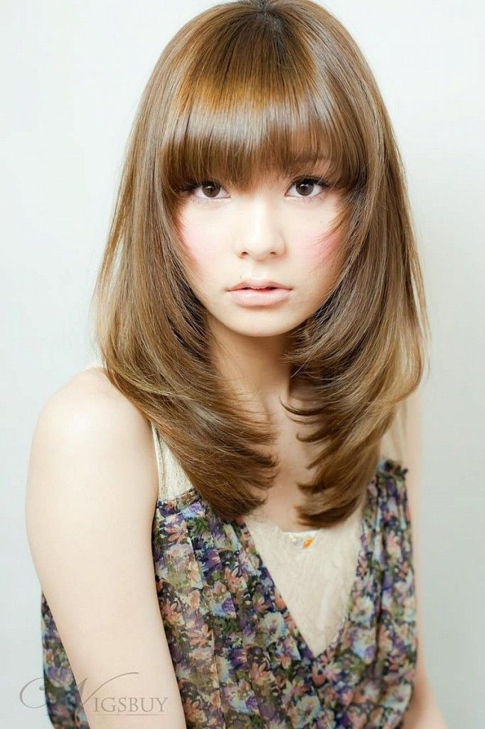 Asian Straight Layered Hair With Side Bangs Asian-medium-le...