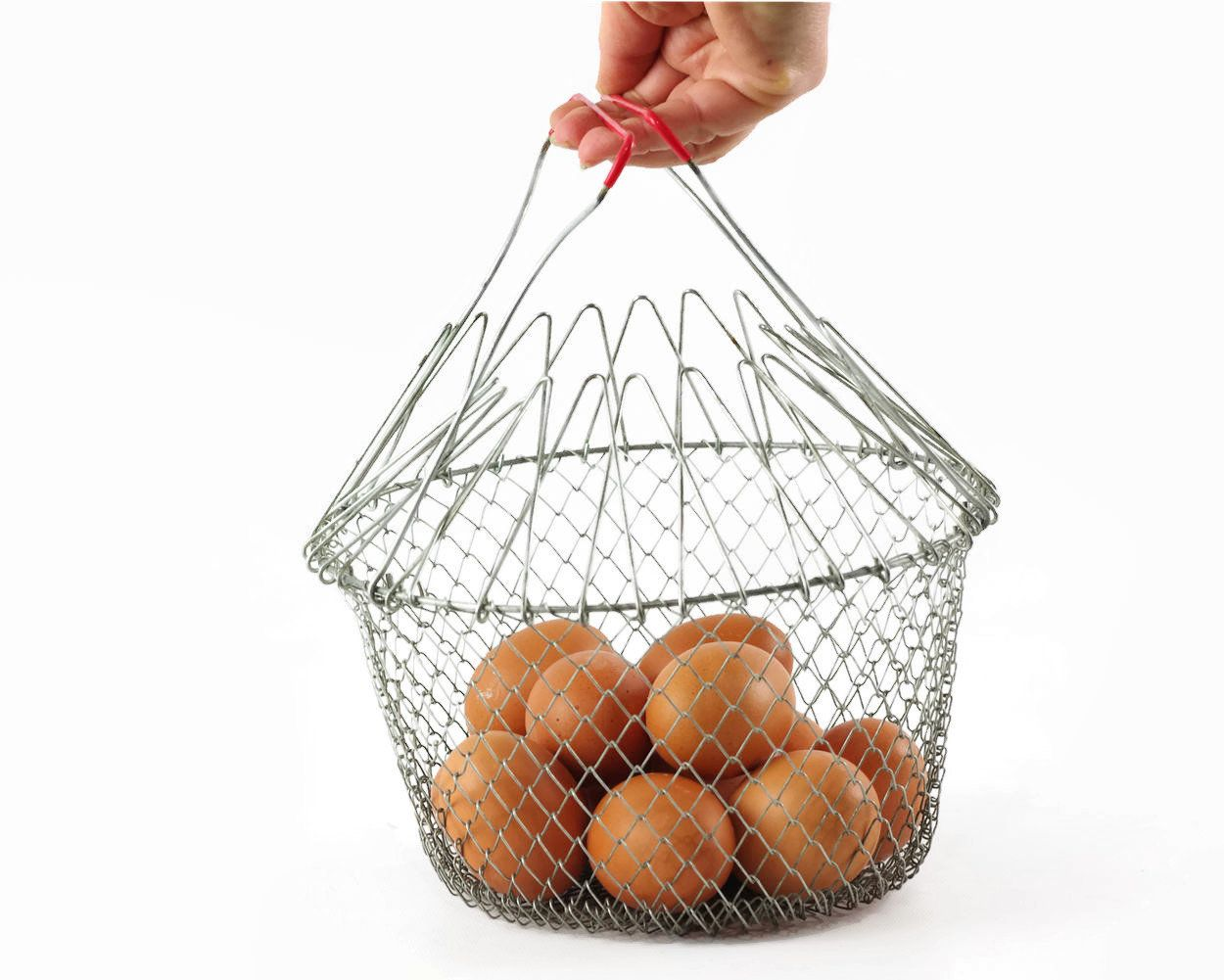 Vintage Wire Basket, Wire Kitchen Basket, Collapsible Egg