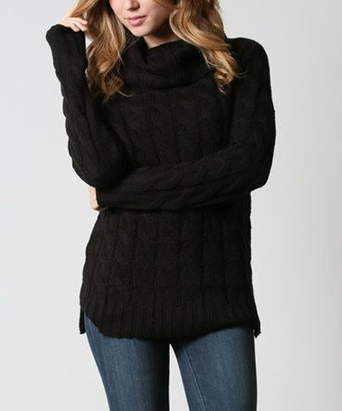 Another great find on #zulily! Black Cable-Knit Turtleneck #zulilyfinds