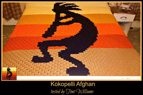 C2C Graph, Kokopelli Afghan, C2C Crochet Graph, and Written Word Chart