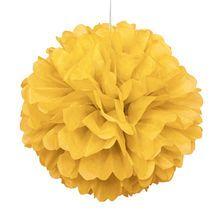 "Yellow Tissue Paper Pom Pom, 16"" $2.29"