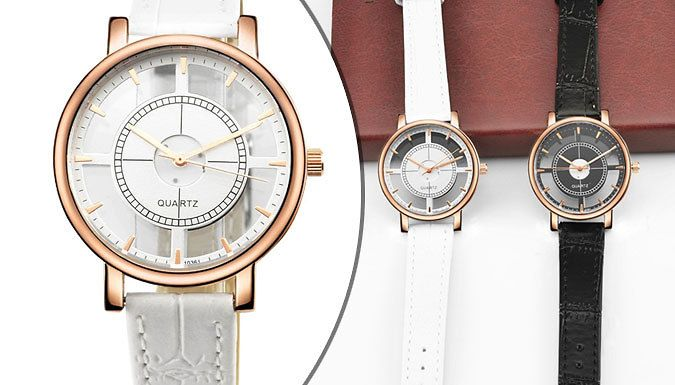 Fabio Transparent Dial Watch Make sure you're fashionably late with the Fabio Transparent Dial watch      Features a distinct transparent dial for a modern and unique look      18k rose gold plating offers a feminine and elegant finish      Available in black or white designs      See Full Details for diameters      Fitted with a PU Leather strap      Save 78% on the Fabio Transparent Dial Watch for 10.99 pound instead of 49.99 pound BUY NOW for just GBP10.99