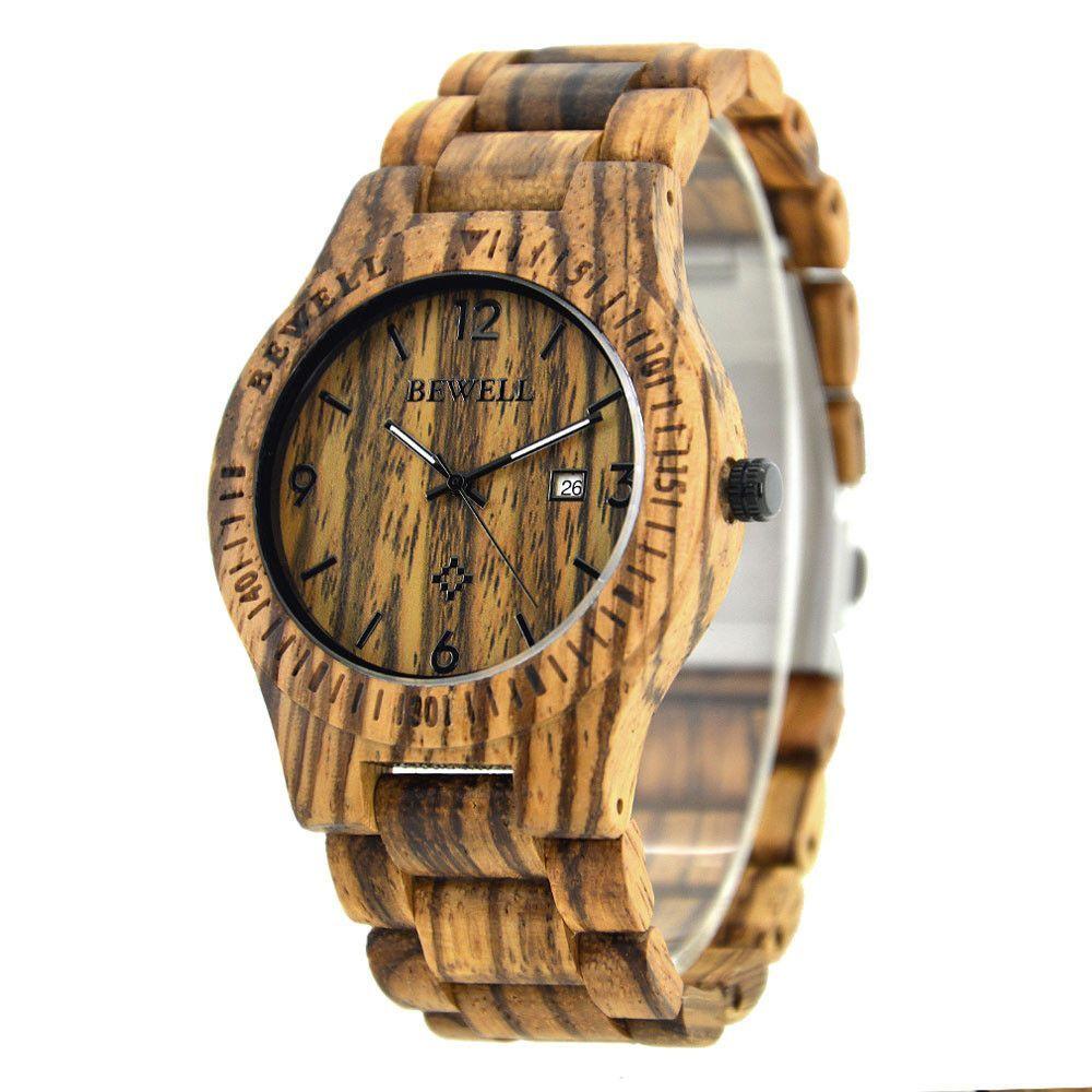BEWELL Men's Wooden Watch