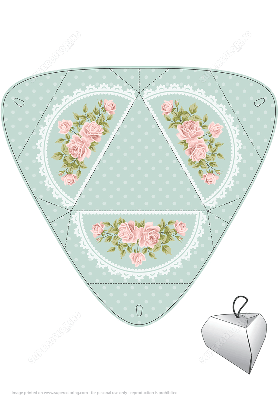 Handmade Gift Box Template with Roses | Super Coloring
