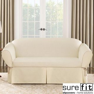 Sure Fit Contrast Cord Duck Natural Sofa Slipcover Ping S On Slipcovers