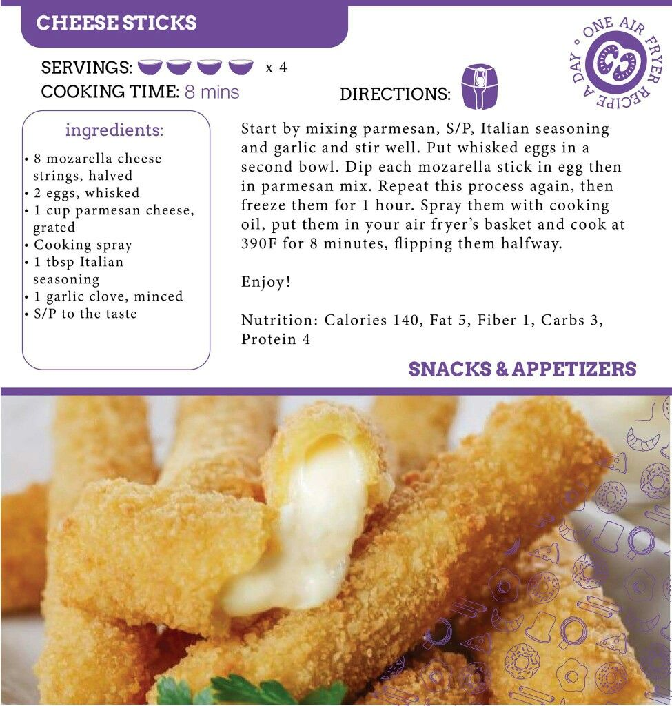 Air Fryer Cheese Sticks Recipe. Air fryer recipes