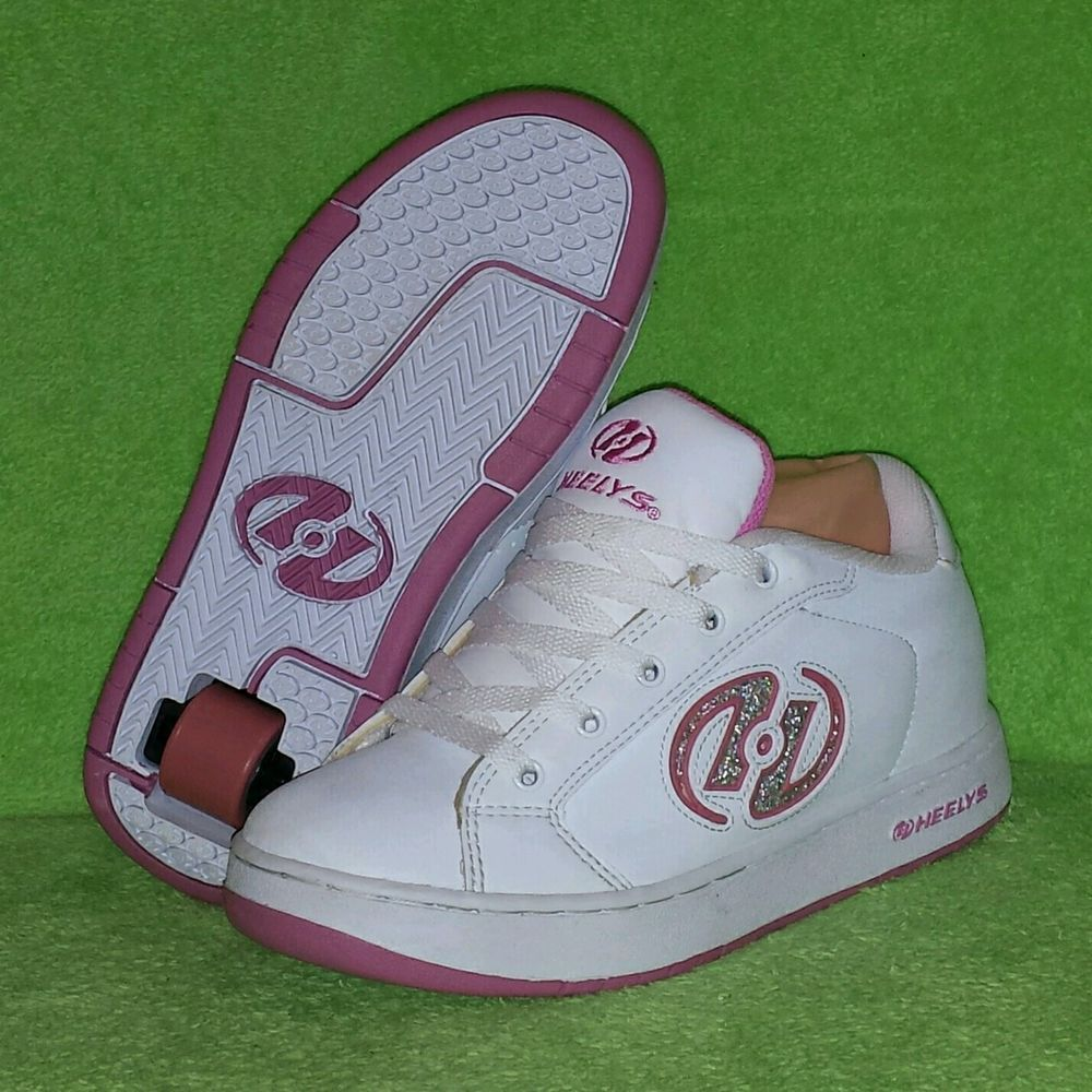 Heelys Juniors White & Pink Glitter Skate Shoes Size 7 Excellent Condition #Heelys #SkateShoes
