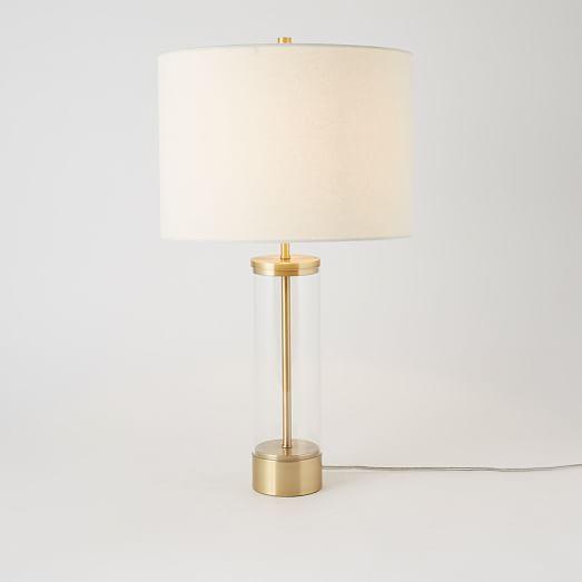 Acrylic Column Table Lamp Antique Brass Table Lamp Lamp Antique Brass