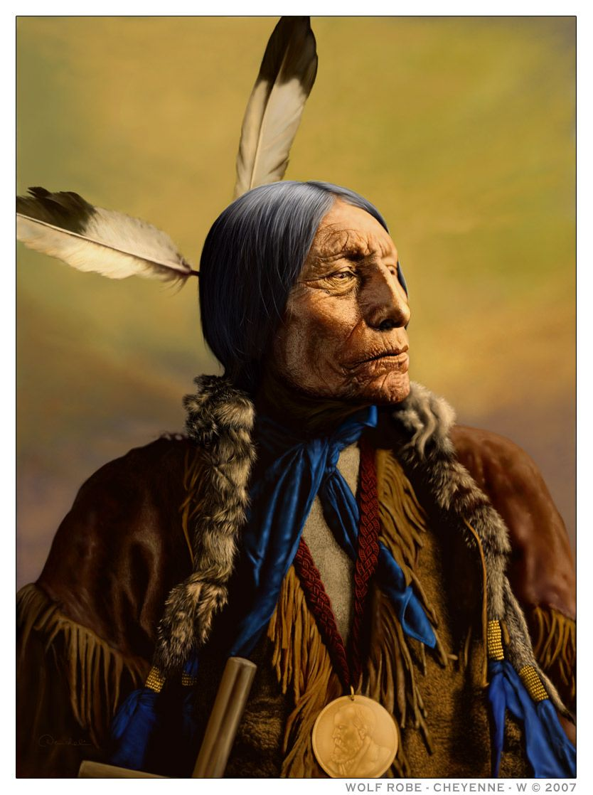 indian chief and wolf - photo #24