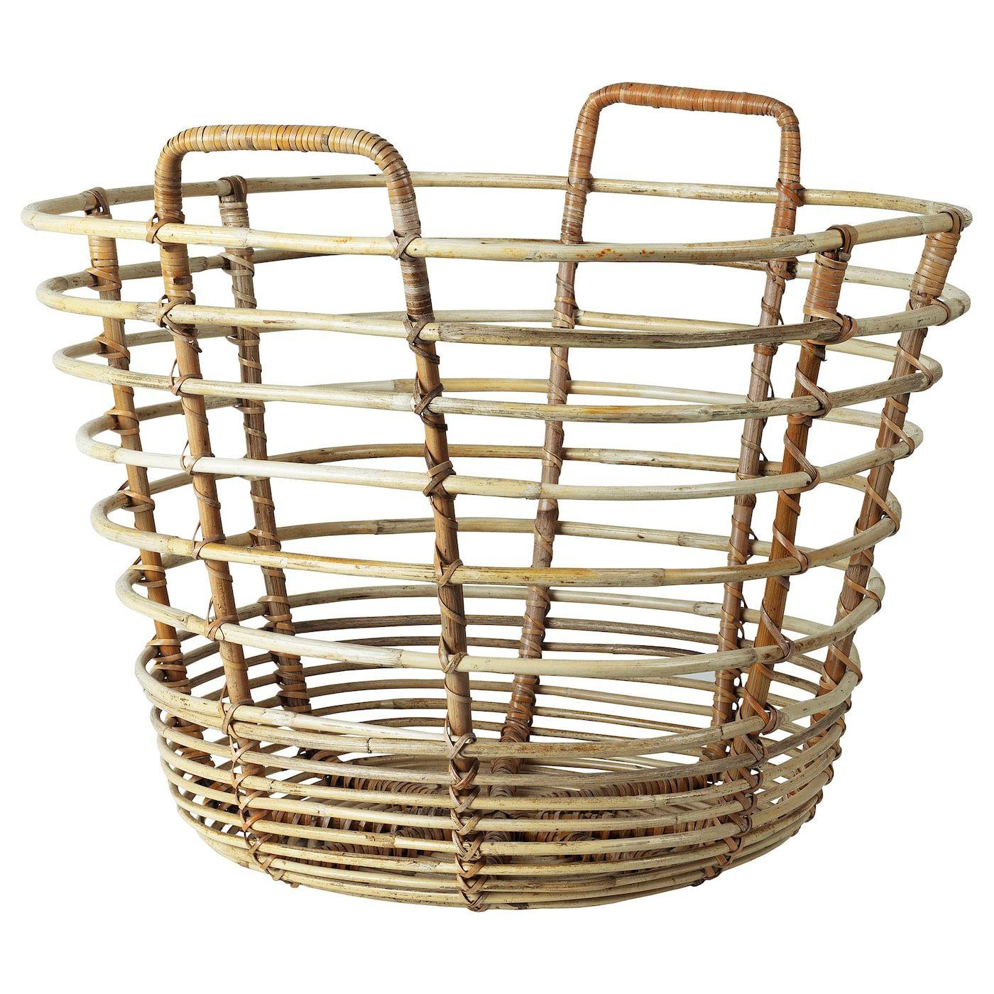 Ikea Solblekt Basket With Handles Rattan This Generous Basket Is Perfect For Warm Blankets On The Terrace Wet Towels O Wicker Baskets Storage Basket Ikea