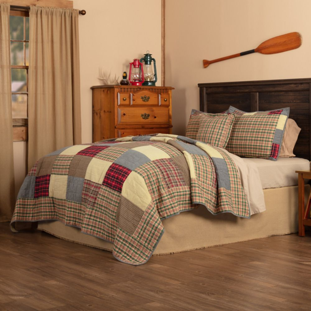Queen Quilt Bedding Set Plaid Patch Western Rustic Modern