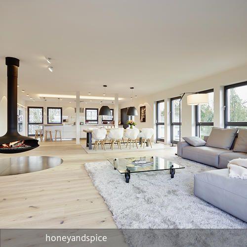loft, bauhausstil Lofts, Interiors and House - offene feuerstelle wohnzimmer