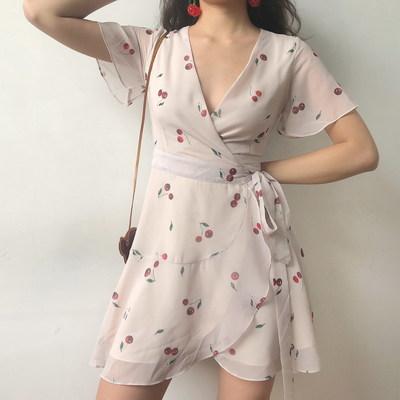 Vintage Cherry Print V-neck Ruffled Wrap Dress from FE CLOTHING -   14 wrap dress Korean ideas