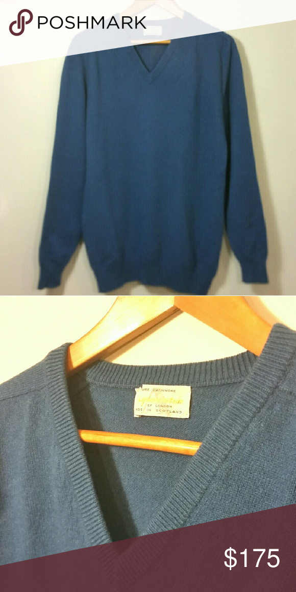 Men's AQUASCUTUM 100% Cashmere Sweater Fits Sz L | Cashmere ...