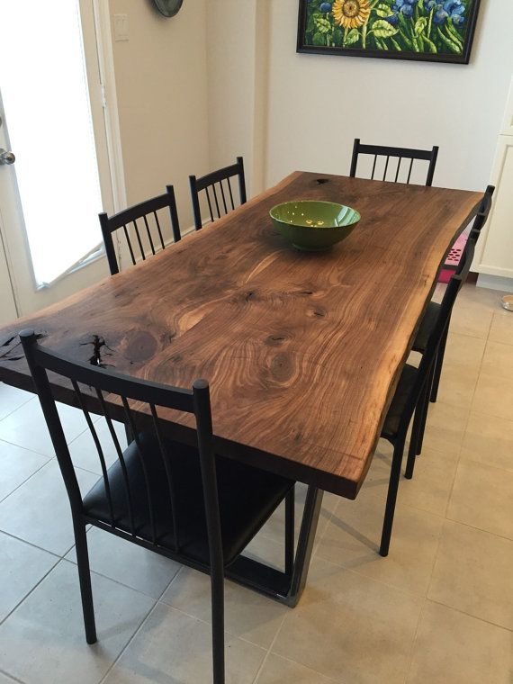 Live Edge Black Walnut dining table with 1x3\