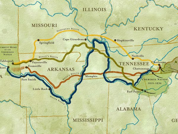 map of trail of tears route | Trail of Tears Map - Detail
