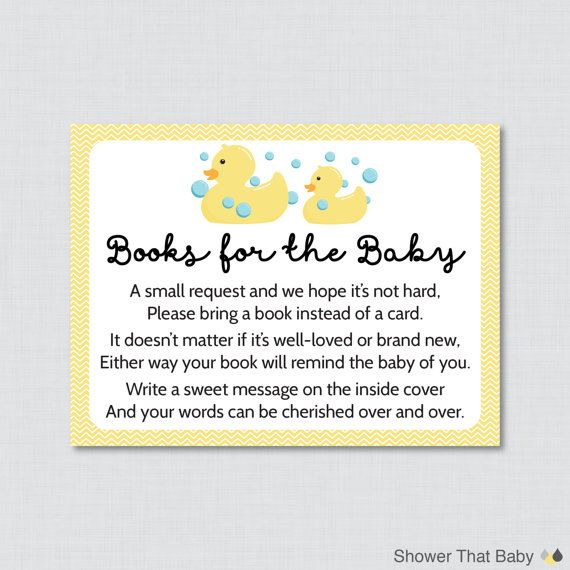 Rubber Ducky Baby Shower Printable Bring A Book Instead Of A Card  Invitation Inserts In Yellow   Duck Stock Babyu0027s Library Card   0019 Y