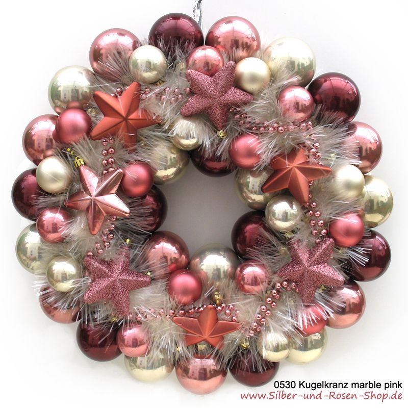 Weihnachtsdeko Kugeln Groß.Türkranz Weihnachten Kugeln Marble Pink Groß Gefällt Mir