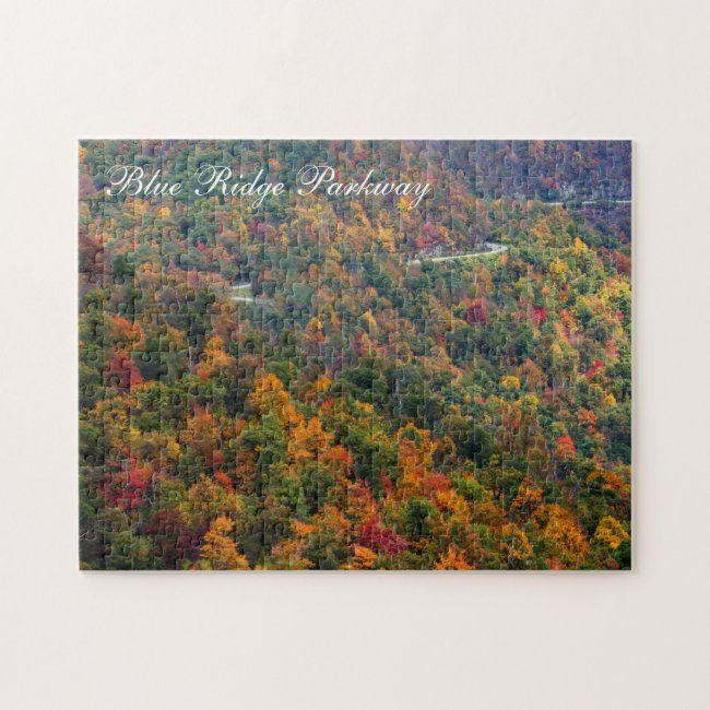 Blue Ridge Parkway Fall Windy Country Road Curves Jigsaw Puzzle | Zazzle.com