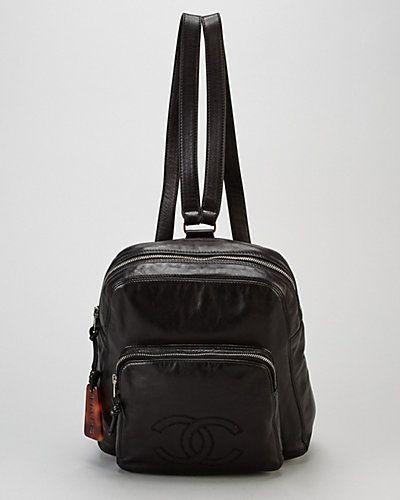 Chanel Black Calfskin Tortoise Backpack