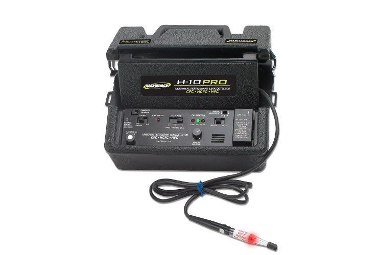 The Bacharach H-10 PRO, an ultra-sensitive universal refrigerant leak detector detects all CFC, HFC and HCFC refrigerants as low as 0.006 oz/yr, including R-410A and R-507 Dual power options allow users to run the H-10 PRO on battery or AC power. The common applications are: Automotive,    Commercial HVAC, Food / Beverage Production,     Residential HVAC, Industrial HVAC. Learn more and Shop on Valuetesters.