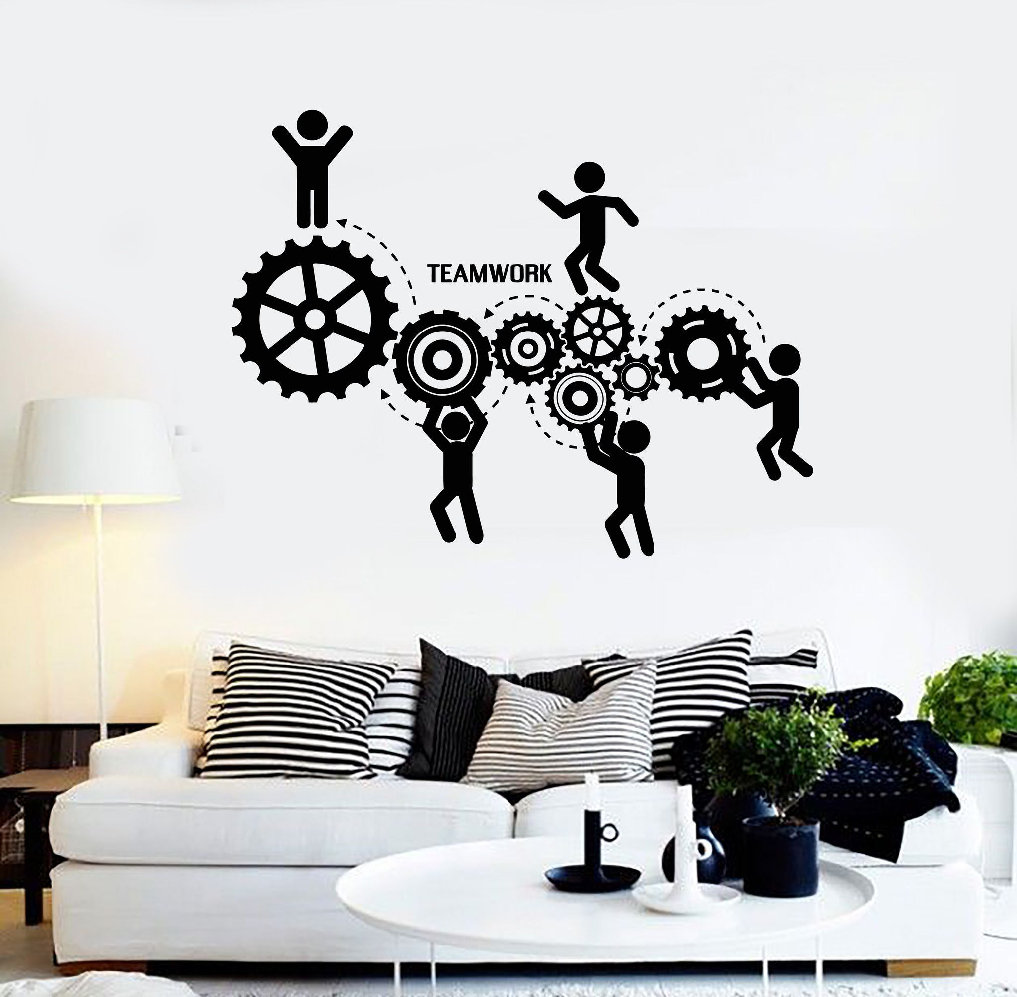 Vinyl wall decal teamwork office motivation worker for Stickers 3d pared