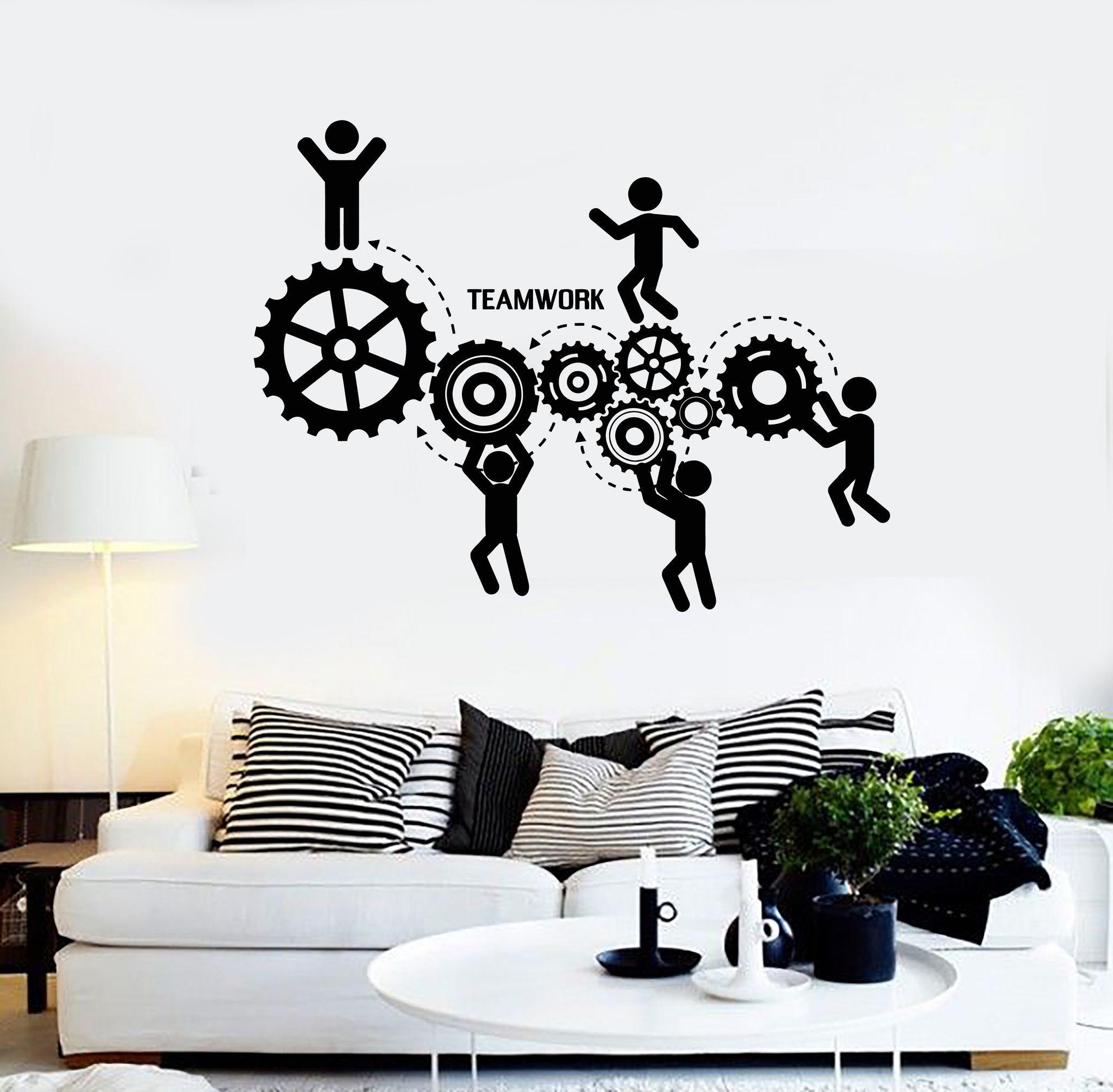 Vinyl wall decal teamwork office motivation worker for Decoration porte sticker