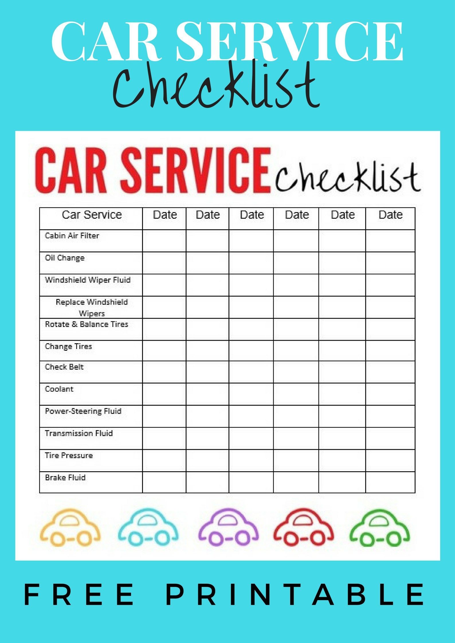 Car Service Checklist Car checklist, Car hacks, Free