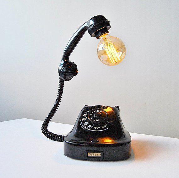 Lámpara reciclada vintage a partir de teléfono ori