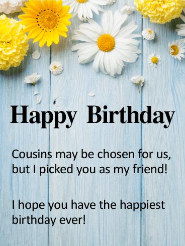 Happy Birthday Sister Cousin : happy, birthday, sister, cousin, Cousin, Friend, Happy, Birthday, Greeting, Cards, Davia, Wishes, Cousin,