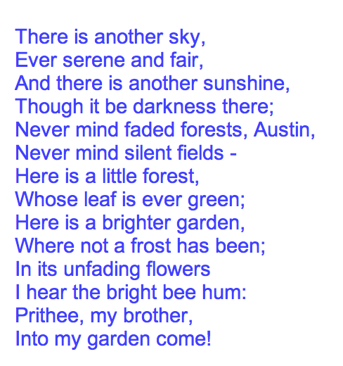 there is another sky by emily dickinson
