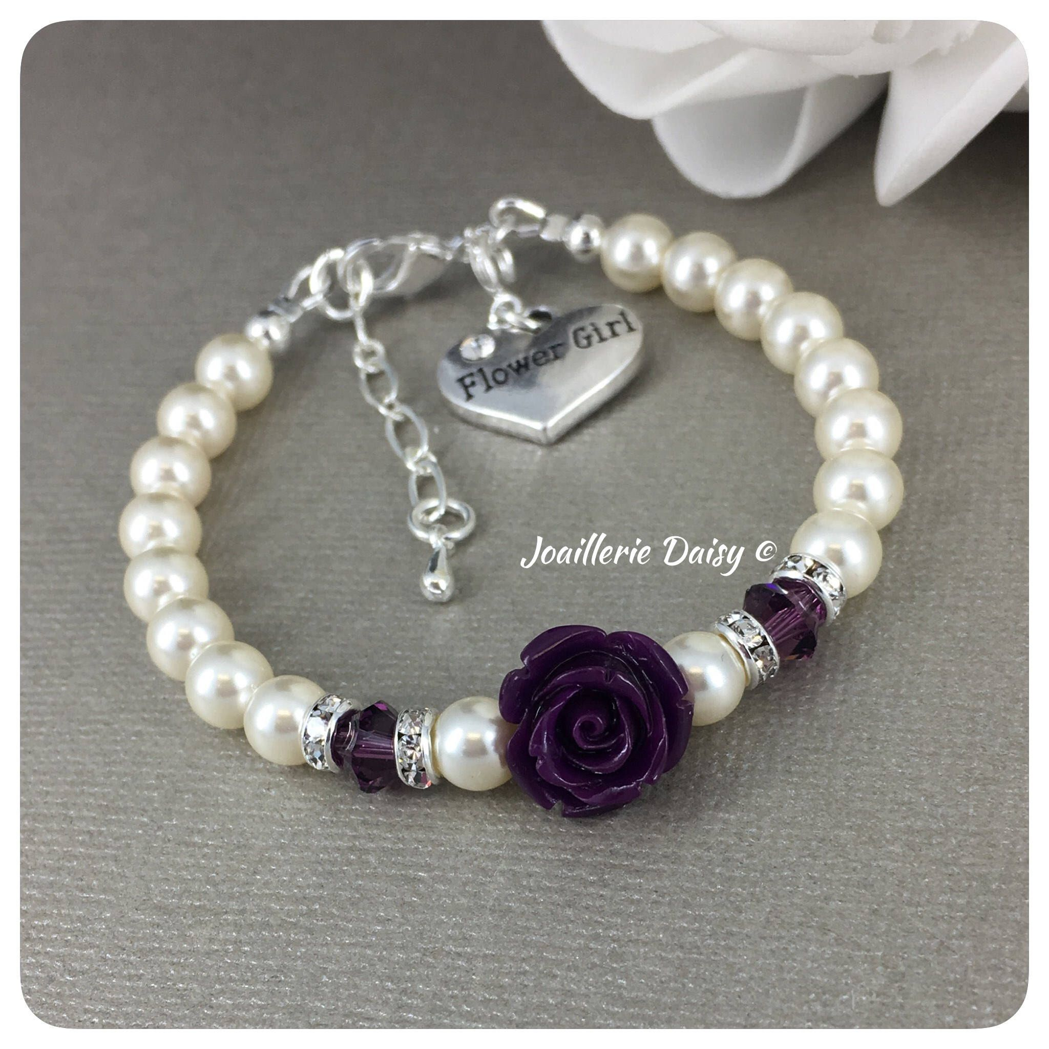 crystal kids flower charm flowergirl blue k white product d bracelet img girl bridesmaid or pearl