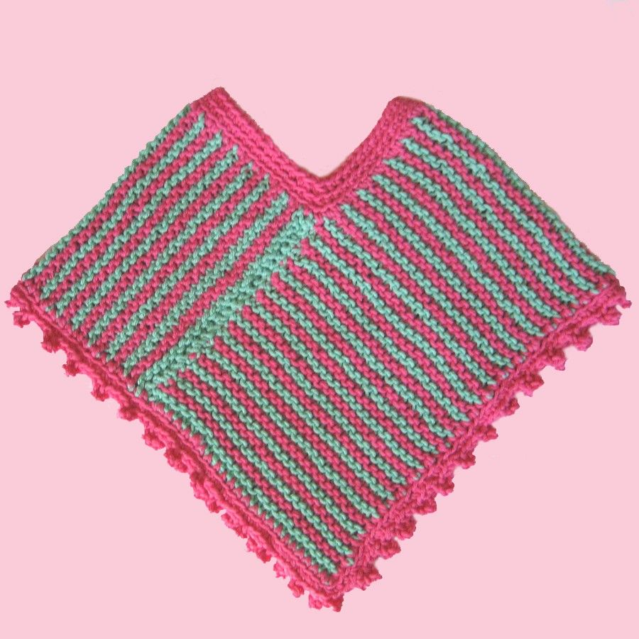 Easy Baby Knitting Patterns. Easy Baby Pretty Poncho Knitting Pattern. Prev Next. This stylish poncho is easy to knit --and it's easy on the eyes. This multicolor poncho is worked in one piece, starting at the bottom edge. Fringe is added at the end to make it even more fabulous. It's a .
