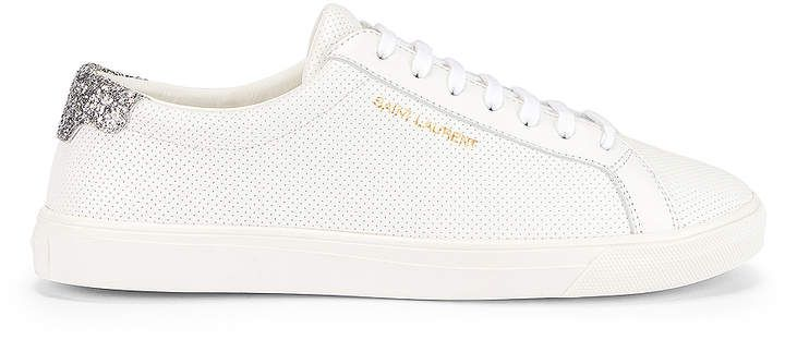 Saint Laurent Andy Low Top Glitter Sneaker in White & Silver