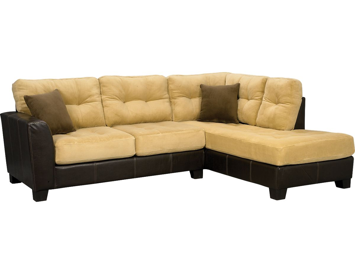 Bella 2 Piece Microsuede Sectional Two Tone Brown Sec The Brick