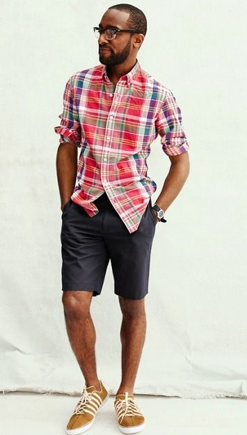 Shop this look for $80:  http://lookastic.com/men/looks/red-longsleeve-shirt-and-charcoal-shorts-and-mustard-low-top-sneakers-and-black-watch/2805  — Red Plaid Longsleeve Shirt  — Charcoal Shorts  — Mustard Low Top Sneakers  — Black Leather Watch
