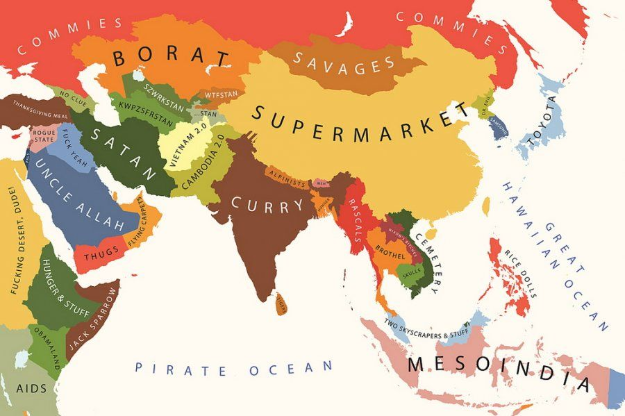 fc7b3f8d Asia according to the US | Funny maps | Funny maps, Map, World