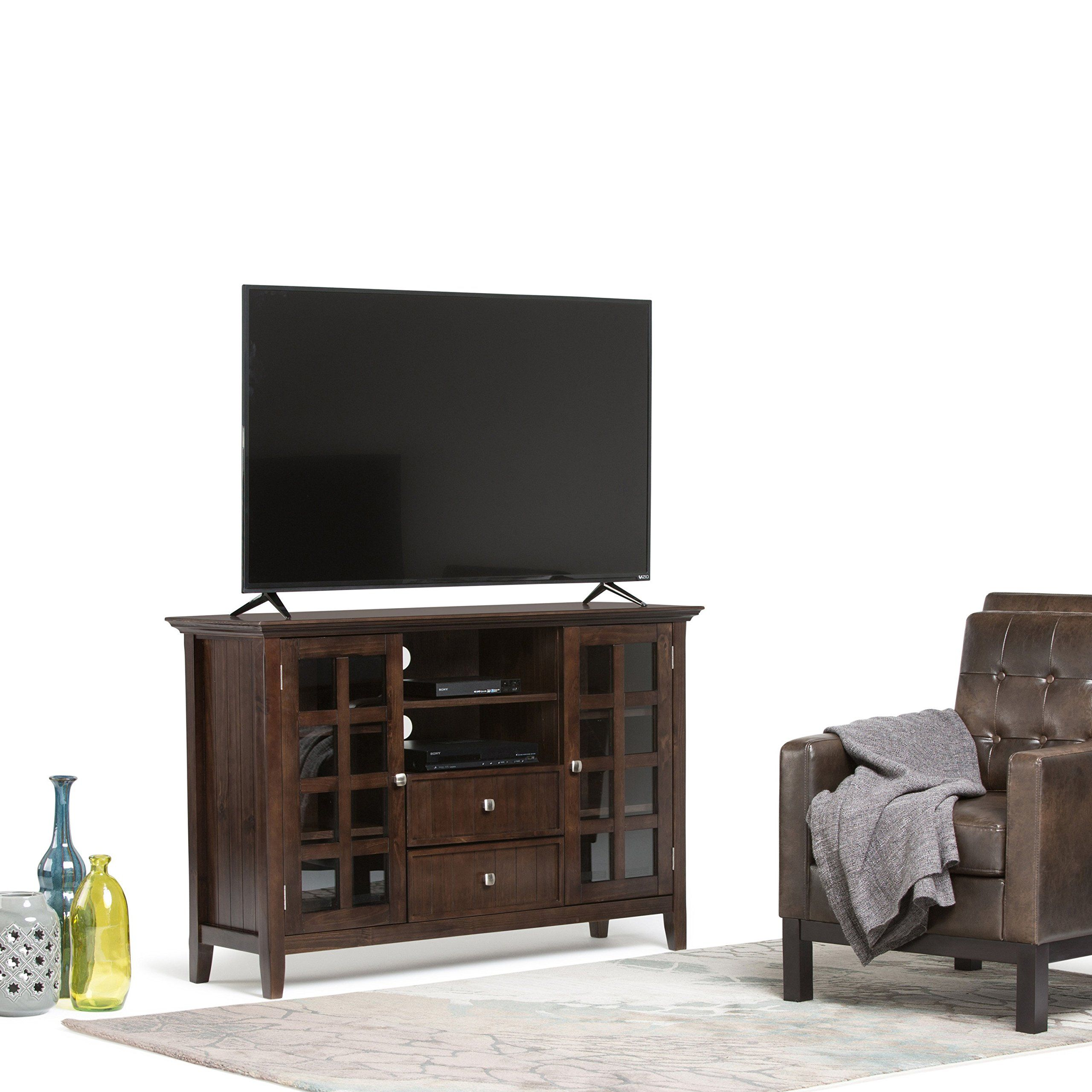 Simpli Home Acadian Solid Wood Tall Television Media Stand for