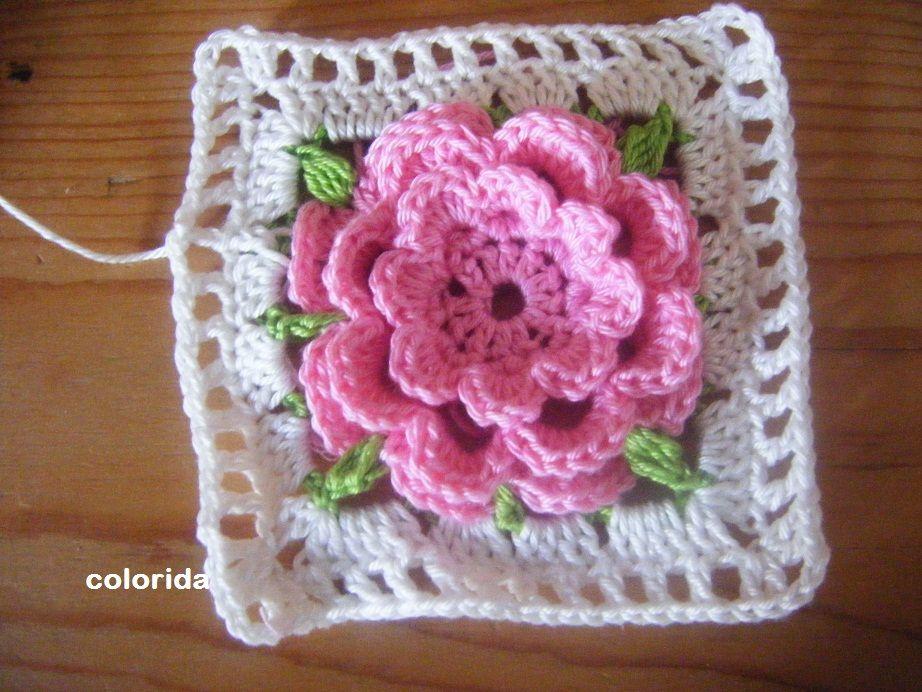 Granny Squares Diese Tolle Rose Blume Ist Mal Als Erstes Blumen
