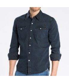 2bf6789098 Mens Levis Smokey Dark Long Sleeve Barstow Western Shirt